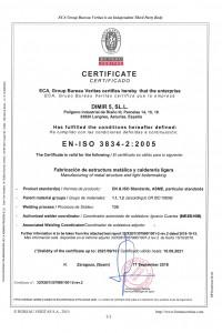 Certificado EN-ISO 3834-2  2005